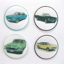 12 PRE CUT EDIBLE RICE WAFER PAPER CARD CLASSIC FORD CARS CAKE PARTY TOPPERS