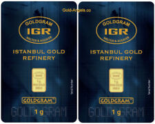 2 X One gram 24K  IGR gold bullion bar (2 gram .9999 fine gold)