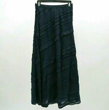 Soft Surroundings Maxi Skirt Womens Silk XS Navy Blue Long Ruffle