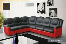 New LARGE CORNER SOFA TEXAS High Back Faux Leather Black Grey Red