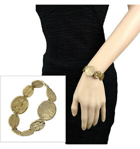 Antiqued Gold Tone Chain Coin Link Bracelet 8 1/4""