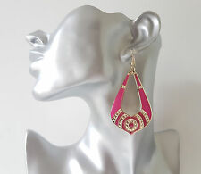 Gorgeous 8cm long gold tone & PINK - glitter lightweight drop - dangle earrings