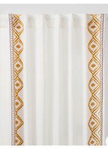 108x50 Global Border Curtain Panel White/Yellow Opalhouse 1 Panel D2