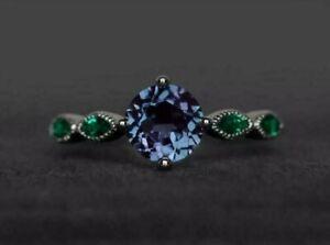 2.30CT Round Cut Alexandrite & Emerald Engagement Ring 14k White Gold Finish