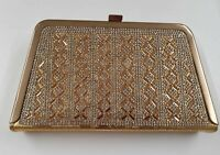 LADIES DESIGNER CLUTCH WALLET LADIES GOLDEN WRISLET DIAMANTE EVENING PURSE