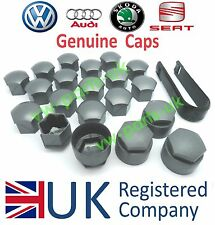 Genuine VW Audi Skoda SEAT Alloy Wheel Bolt Nut Caps Covers and Removal Tool NEW