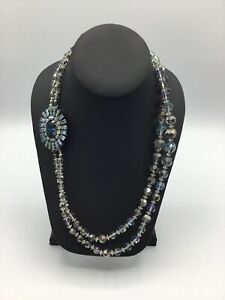 VINTAGE AB CRYSTAL GLASS BEAD NECKLACE MULTI FACETED 2 STRAND #AN656