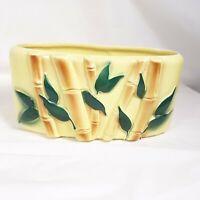 Royal Copley Yellow Bamboo Planter Ceramic Asian Decor Vintage