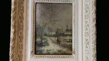 Ecole Française de la fin du XIXe siècle Paysage de neige Huile sur panneau N° 1