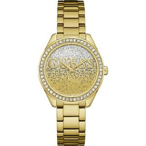 AUTHENTIC GUESS LADIES WATCH GLITTER GOLD W0987L2 STONE SET BRAND NEW