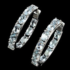 Unheated Pear Blue Aquamarine 6x4mm Natural 925 Sterling Silver Earrings