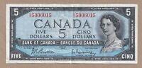 1954 $5 Bank of Canada Note Beattie Raminsky S/X 5006015 - VF
