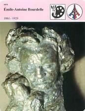FICHE CARD Émile-Antoine Bourdelle 1861-1929 Sculptureur Buste de Beethoven  90s