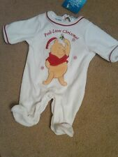 NWT GIRLS DISNEY WINNIE THE POOH CHRISTMAS CREEPER OUTFIT WHITE VELOUR 0-3 MOS