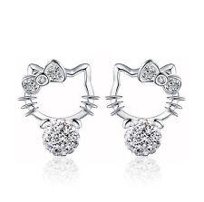 Hello Kitty Rhinestone 925 Sterling Silver Earrings Studs Lady Women Jewelry