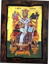 Jesus Christ - Enthroned - Orthodox Byzantine icon on wood handmade 22.5cm x 17