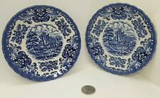 "2 British Anchor England Ironstone~Olde Country Castles~Blue 5.5"" Tea Cup Saucer"