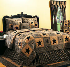 Primitive Quilt King Size Black Tan Vintage Star Country Rustic Bedroom Decor