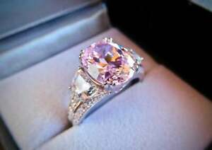 2.50Ct Oval Cut Pink Sapphire Three-Stone Engagement Ring 14K White Gold Finish