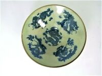 Chinese porcelain signed cup with dragons, cobalt blue design under clear green