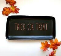 RAE DUNN Halloween 2019 Serving Tray Platter Matte Black TRICK OR TREAT Orange