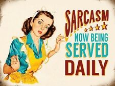 Sarcasm Served Daily, Funny Retro Girl, Kitchen Food, Novelty Fridge Magnet