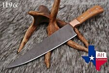 HAND FORGED DAMASCUS STEEL CHEF KNIFE &COPPER GUARD W/OLIVE WOOD HANDLE AH-.1196