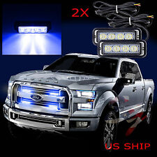 2X 4 LED Car Truck Emergency Beacon Light Bar Hazard Strobe Warning Blue Blue