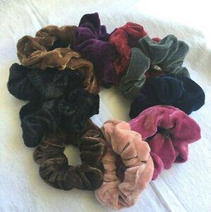 New Assorted Colored & Black Pack Of 12 Plain Velvet Scrunchie Bobble Hair Tie
