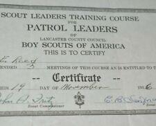 1936 BSA Scout Leader Training Course Patrol Leader Certificate Signed Lancaster