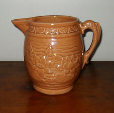 McCoy Art Pottery Water Lily Pitcher Raised Relief Stoneware Fish Handle C1935