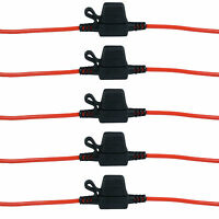 5 x In-line Mini Blade Fuse Holder Splash Proof 12V 20A Fuses Car Auto