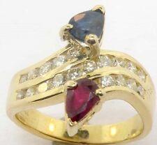 LADIES 18K DIAMOND SAPPHIRE RUBY BYPASS RING SZ 5 1/2