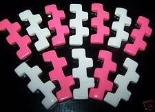 X LARGE 50MM PINK WHITE MIX UNUSUAL JIGSAW CRAFT BEADS