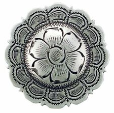 "Western Lodge Cabin Kitchen Decor 1 1/2"" Silver Flower Concho Drawer Pulls (6)"