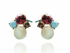 Amazing Rose Pink Crystals and White Opal Simulation Cluster Studs Earrings E387