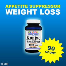 KONJAC Root Extract 90 Capsules 2000MG Weight Loss-Suppress Appetite Whole Herb