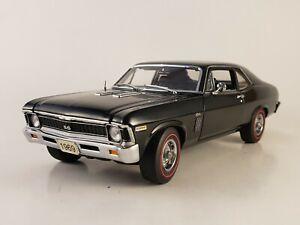 "Danbury Mint 1969 Chevrolet Nova SS 396  ""BLACK""  w/ Paperwork 1:24 ""NICE PAINT"""
