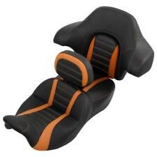 Black Rider Driver & Passenger Seat Backrest Pad For Harley Street Glide 14-20