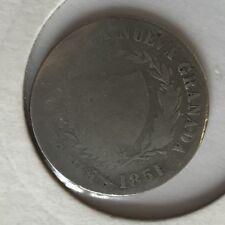 Antigüedad 1851 2 reales moneda de plata BOGOTA Nueva Granada
