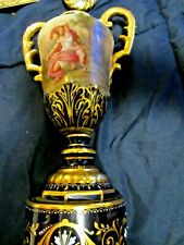 ROYAL VIENNA BOLTED URN, HAND PAINTED ARTIST SIGNED C 1890