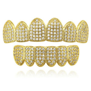 Hip Hop Grills Top Bottom Set ICED 5A+ CZ Gold Silver Color Bling Teeth Grillz