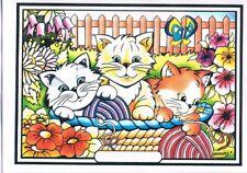 Tableau à colorier en velours - Trois Chatons