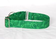 "1.5"" Small (Whippet) Martingale Dog Collar Green Paisley"