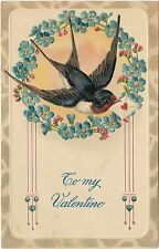 Vintage Postcard To My Valentine with Bluebird of Happiness Germany, USA