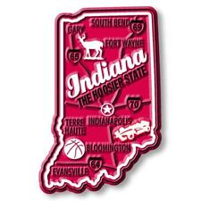 Indiana the Hoosier State Deluxe Map Fridge Magnet