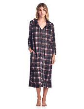 Ashford & Brooks Women's Long Zip Up Fleece Duster Housecoat Dress Lounger Robe