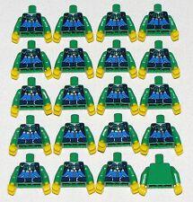 LEGO LOT OF 20 NEW GREEN MINIFIGURE TORSOS WITH ZIPPER PATTERN