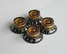 Set of 4 LP Guitar Top Hat Knobs Bell Knob Black/Gold for Les Paul/SG