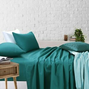 All Size Poly Cotton Fitted Flat Sheet Set Pillowcases Single Dpuble Queen King